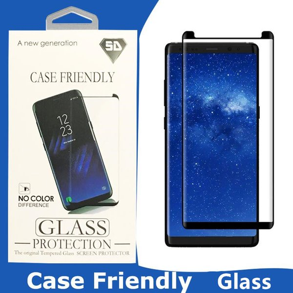 For Galaxy S10 S10E S9 Note 9 S8 Plus S7 edge 3D Case Friendly Screen Protector Samsung Curved Tempered Glass With Retail Box
