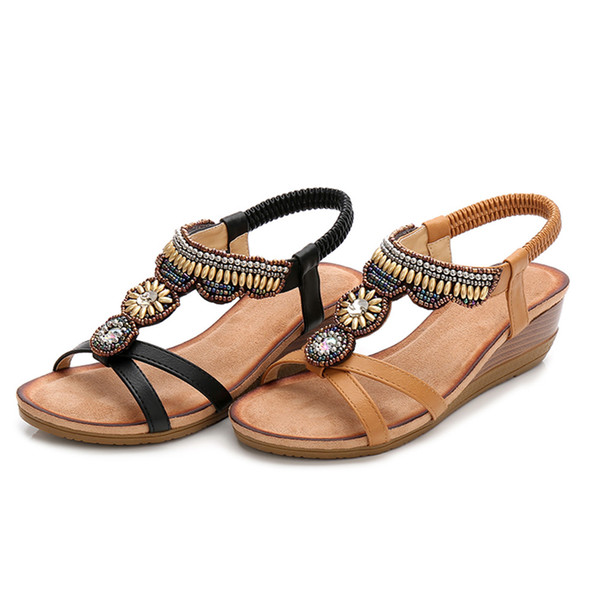Chaussures pour dames New National Wind Sandals Femmes Rétro Strass Perlé Wedge Chaussures Confortable Sandales À Bout Ouvert jooyoo