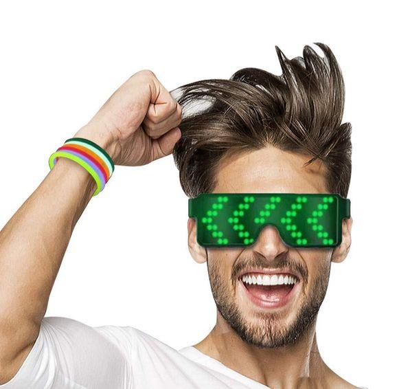 Nuevos 5 modelos Quick Flash Led Gafas de fiesta Carga USB Gafas luminosas Concierto de Navidad Juguetes Dropshipping