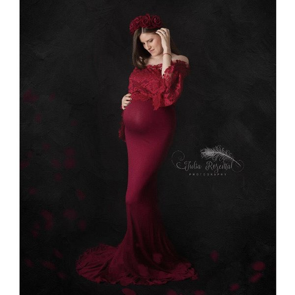 Lace Top Maternity Photography Props Dresses For Pregnant Women Clothes Maternity Dresses For Photo Shoot Pregnancy Dresses Y19051804