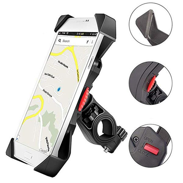 Bike Phone Holder Anti Shake and Stable Cradle Clamp with 360 Degree Rotation Bicycle Phone Mount for iPhone Samsung Android GPS