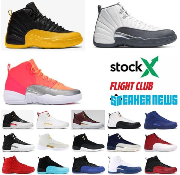 Jumpman Airretrojordan 12s Mens Basketball Shoes Men 12 Game Royal Flu Game PLAYOFF Triple White Mens Athletic Sports Sneakers With Box Discount Shoes