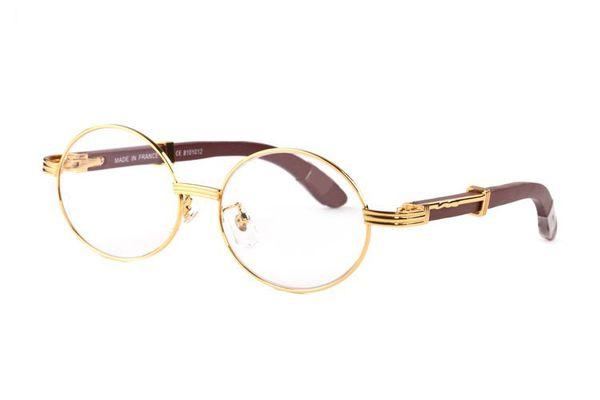top popular 2020 fashion sports black buffalo horn glasses men round circle lenses wood frame eyeglasses women rimless sunglasses with boxes Lunettes 2021
