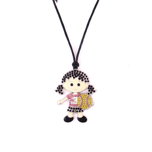 Huilin vende al por mayor collares de cuerda de cera negra y linda niña de softbol con collar de joyas con cristales multicolores y colgante para regalo