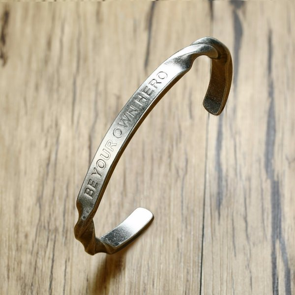 Men's Bracelet Inspirational BE YOUR OWN HERO Stainless Steel Twisted Cuff Bangle Vintage Silver Tone Gift for His Male Jewelry