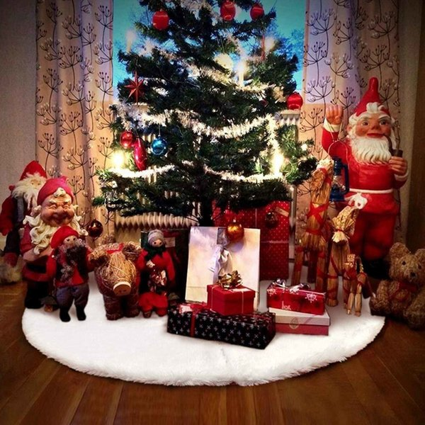 1PC White Christmas Tree Skirt Rug Mat Aprons Fur Decorations For Home Natal Tree Skirts New Year Decoration New Year SH190920