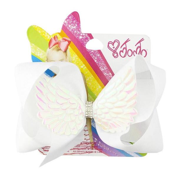 Jojo new 20 color angel wings bow hairpin forcina per bambini 6 pollici con diamante accessori per capelli carta di carta
