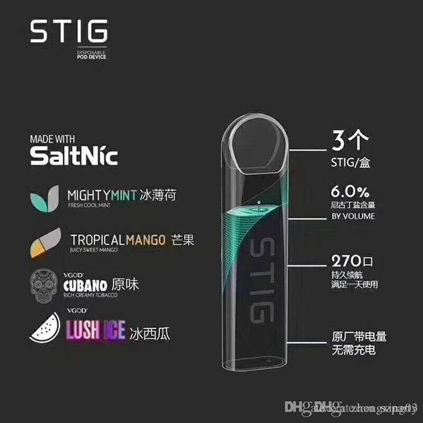 DHL VGOD STIG Disposable Pod Vape Pen Kit Built-in 270mAh Battery 1.2ml Cartridge Portable E Cigarette Kit 4 Flavors High Qulity