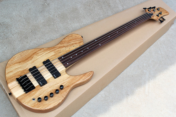 best selling Factory Custom 5-string ASH Neck-Thru-Body Electric Bass Guitar with Rosewood Fretboard,Fretless,Black Hardwares,Offer Customized