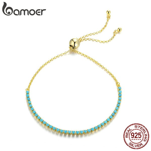 925 Sterling Silver Gold Plated Dazzling Green Crystal Tennis Link Bracelets Fine Adjustable Female Jewelry Chain Imitation Turquoise