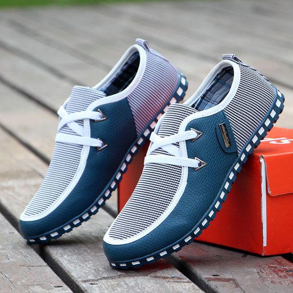 Moda Hombre Zapatos de cuero Primavera Otoño Hombres Zapatos casuales Pisos transpirables Cordones Tallas grandes 39-46
