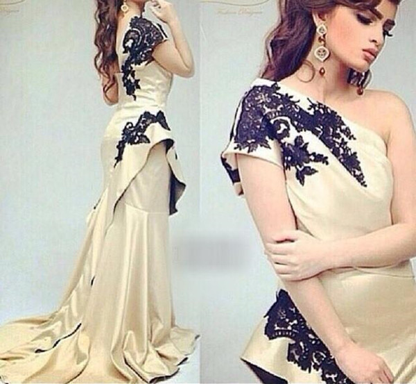 New Arabic Dress For Formal Event One Shoulder Taffeta Champagne Black Appliques Zipper Back Long Prom Dress Evening Gowns Pakistan Dress