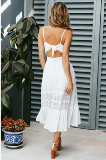 Evening dress Tea-Length dress Sleeveless Lace Spandex Spaghetti Backless A-Line The color is shown in the figure New Model 2019 Sexy 1