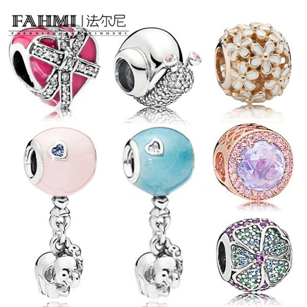 FAHMI 100% 925 Sterling Silver Sparkling Snail Hot Air Balloon with Elephant Beads Daisy Rose Gold Charm Love Heart Beads