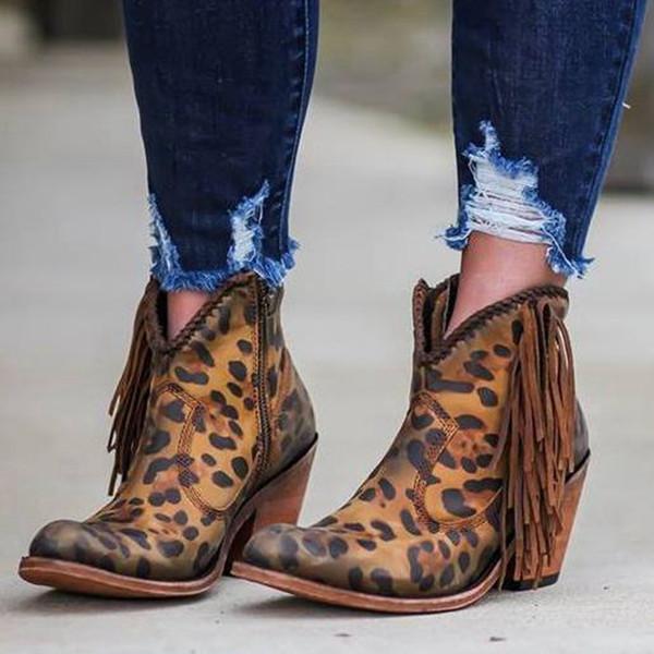 Oeak Mulheres Shoes 2019 moda leopardo Sexy Pointed Toe Botas deslizamento em V profundo altas botas de salto sapatas da senhora