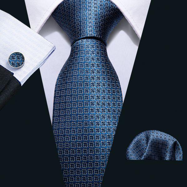 Hi-Tie Yeni Klasik Kravat Set Ipek Koyu Mavi Ekose Erkek Iş Takım Elbise için N-5052 Ipek Mendil Kol Düğmeleri Ayarla ...