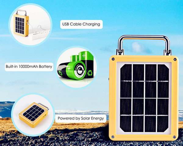 Solar Light Portable Rechargeable 30W 50W Aluminum Dimmable Brightness Strobe Flashing Warning For Camping Fishing Emergency Lighting