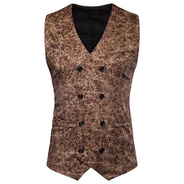 Leopardo para hombre traje chalecos sin mangas casual para hombre prendas de vestir exteriores con botón masculino ropa