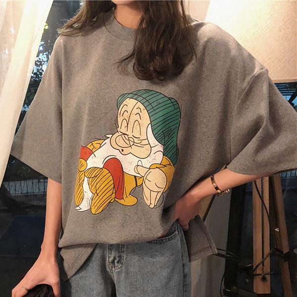 Дизайнер женщины T Shrit Марка мультфильм милый принт 2019 лето новый женский футболка рубашка с коротким рукавом футболка женский большой размер женская