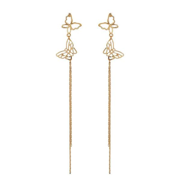 Fashion Long Tassel Earrings Hollow Double Butterfly Tassel Earring 925 Sterling Silver Needle For Women Wholesale Jewelry