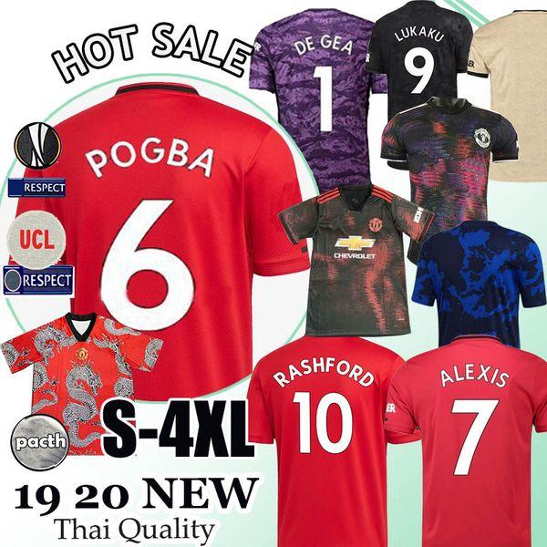Camisa 2019 camisa de futebol Pogba FC futebol manchester 2020 Lingard Lukaku Rashford unidos Utd 19 20 uniformes MEN crianças kit jerseys Tailândia