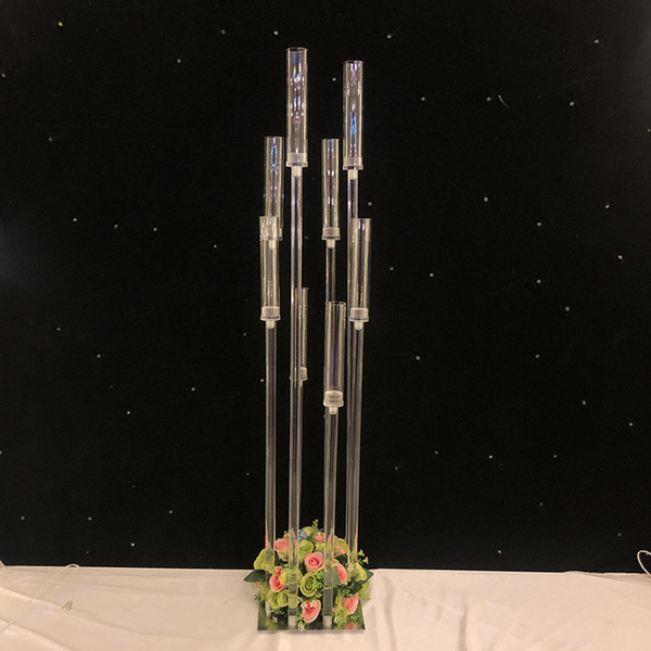 Flowers Vase 8 Heads Candle Holders Backdrops Acrylic Tall Candelabra Candlestick Holders Wedding Table Centerpiece Flower Stand Candelabrum Beach
