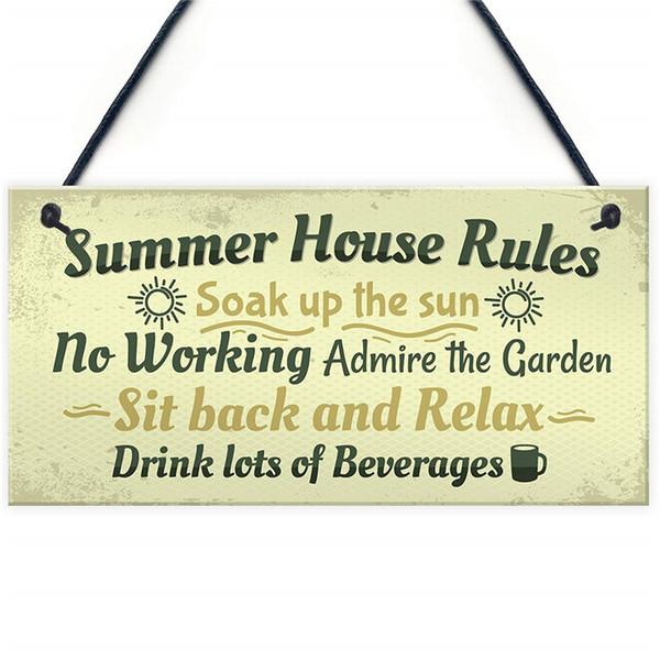 Summer House Rules Novelty Hanging Plaque Garden Shed Sign New Home Friendship Gift Plastics Chalkboard Sign