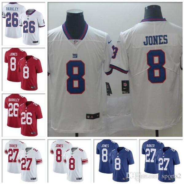 MENS # 8 Daniel Jones Forması # 97 Dexter Lawrence # 27 Deandre Baker Erkekler Buharı Dokunulmaz Tüm Dikişli amerikan futbolu formaları Giymek gençlik