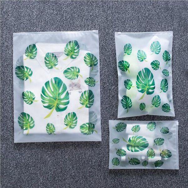 Travel Storage Bags Flamingo EVA Zipper Organizer Bag for Clothing Underwear Socks Shoes Transparent Plant Cosmetic Bag ZC0092