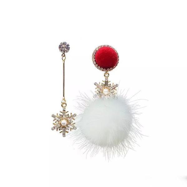 Asymmetry women earring snowflake Ball fashion earing for women 2018 Female silver earrings 925 silver allergy free