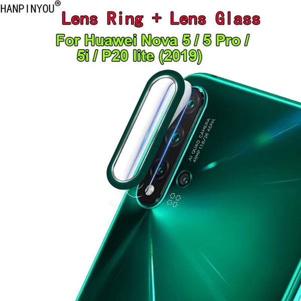 1 Компл. Для Huawei Nova 5/5 Pro / 5i Роскошный Камеры Металлический Круг Кольцо Бампер Крышка + Объектив Закаленное Стекло Защитная Пленка