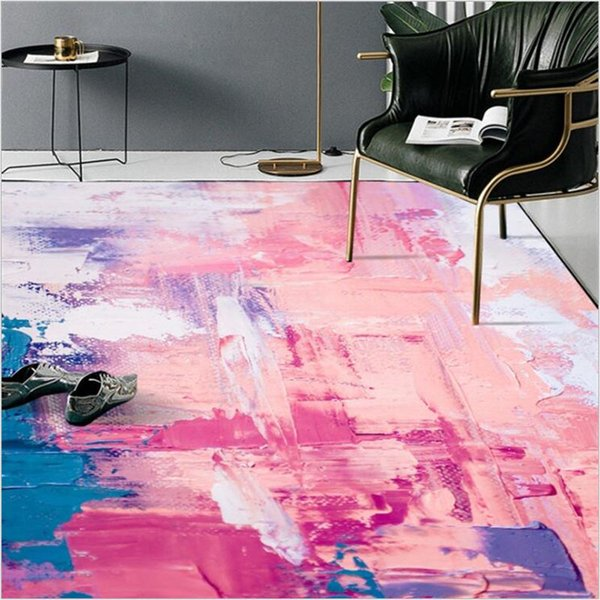 AOVOLL Modern Colorful Carpet And Rugs For Home Living Room Carpet Bedroom Kitchen Mat For Floor Abstract Art Oil Painting Pink