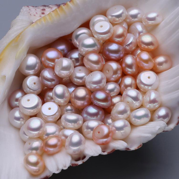 best selling 100% Natural Freshwater Pearl Bead DIY Jewelry Designer Findings Beads 5-9mm Oblate Orange Purple White Pearl Bead Loose Beads With Holes