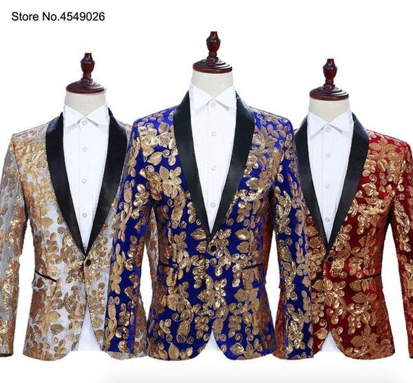 Men Fashion Blazers Black Gold Blue Velvet Flowers Sequins Floral Pattern Suit Jacket Blazer For Wedding Party