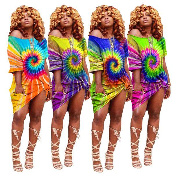 Women tie dye dresses plus size mini skirts designer summer clothing off shoulder lady dresses short sleeve loose dress free shipping 912