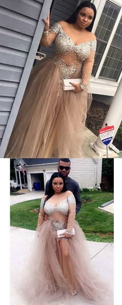 2019 Plus Size Charming Prom Dresses Beaded Off the Shoulder Long Sleeves Evening Dresses V Neck Tulle Cheap Special Occasion Dresses