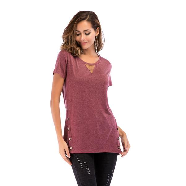 2019 DHL Women's Casual V-Neck Tee Shirts Short Sleeve Criss Cross Sexy Tops Blouse Button Decor Summer T Shirts