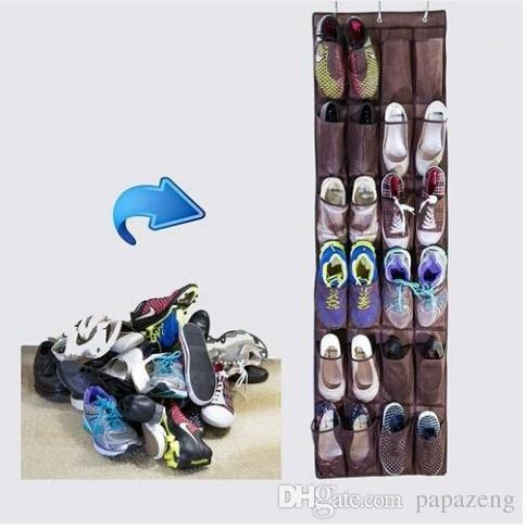 Wholesales Free shipping 24 Pocket Home Over The Door Hanging Organizer Storage Holder Rack Closet Shoes