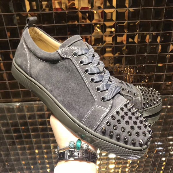 Low top red bottom sneakers for men luxury black leather fashion casual mens womens shoes designer causal shoes Wholesale size 35-47