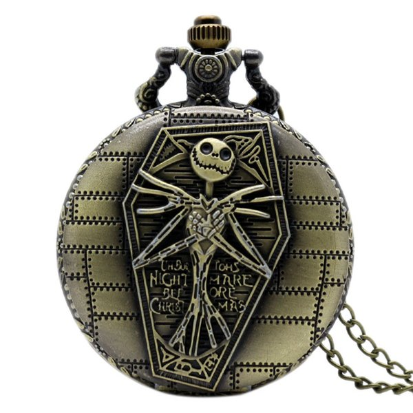 The Nightmare Before Christmas Pocket Watch Bronze Jack with Coffin Carving Slim Chain Cartoon Fans Clock Unique Halloween Gifts