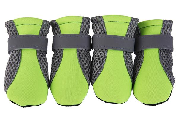 4 stücke Haustier Hund Stiefel Schuhe Sommer Winter Atmungsaktives Mesh Schuhe Für Hund Reflektierende Riemen Hund Schuhe 6 Farben 4 Größen