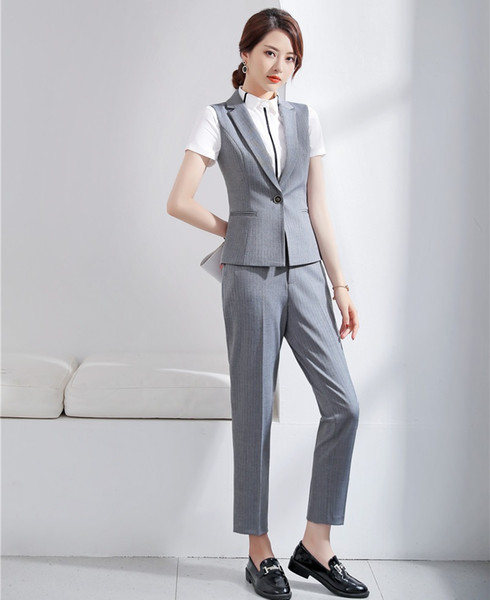 Señoras formales Chaleco gris Chaleco para mujer Trajes de negocios Conjuntos de pantalón y chaqueta Ropa de trabajo Estilos de uniformes de oficina OL