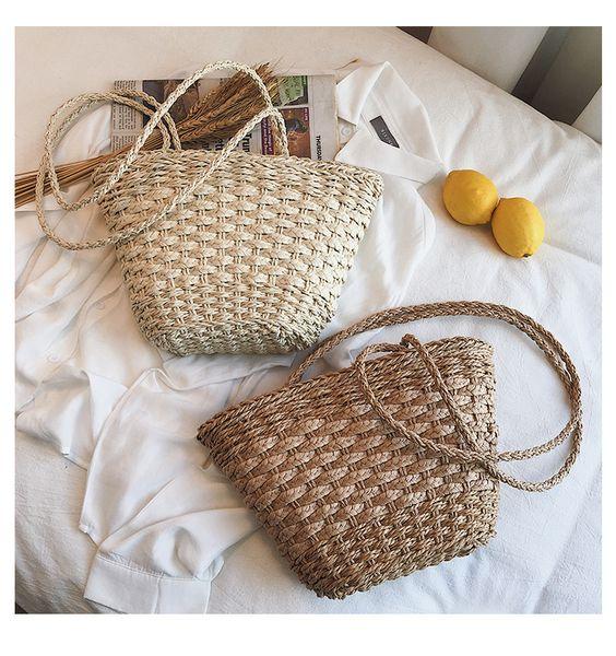 2019 Hand Woven Bohemian Summer Beach Handbag Straw Bag Rattan Bags for Travel Female Tote Wicker Bag Luxury Handbags Designer