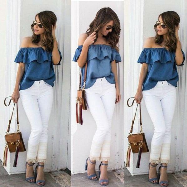 Yeni Moda kadın Yaz Kapalı Omuz Bayanlar Gevşek Rahat Kot Bluz Ruffles Gömlek Katı Sıcak Giysiler