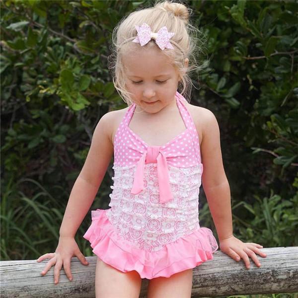 2019 новые летние точки девочки купальник кружева милый ребенок дети купальники девушки бикини из двух частей детские купальники детские наборы пляжная одежда A4590