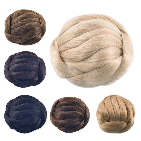 Ladies Braided Chignons Pure Colors Meatball Head Two Plastic Combs Updo Cover Synthetic Hair Diameter 11 Centimeter Twist Braid Buns Wraps