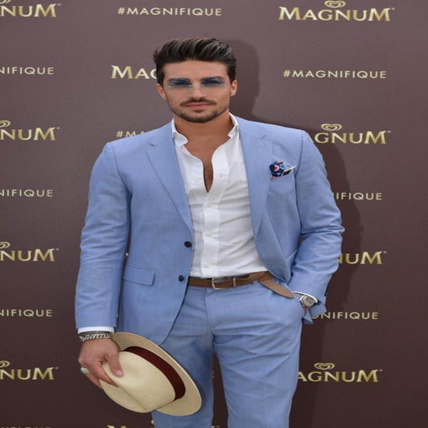 Tailor Made Sky Blue Men Suits Slim Fit Casual Groom Prom Blazer Beach Summer Style 2 Piece Tuxedo Jacket With Pants Terno
