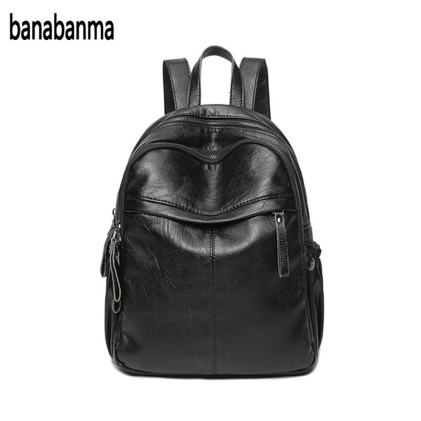 Women Casual PU Travel Backpack Solid Color Multi-pocket Shoulders Bag Schoolbag Daypacks Black HOT NEW
