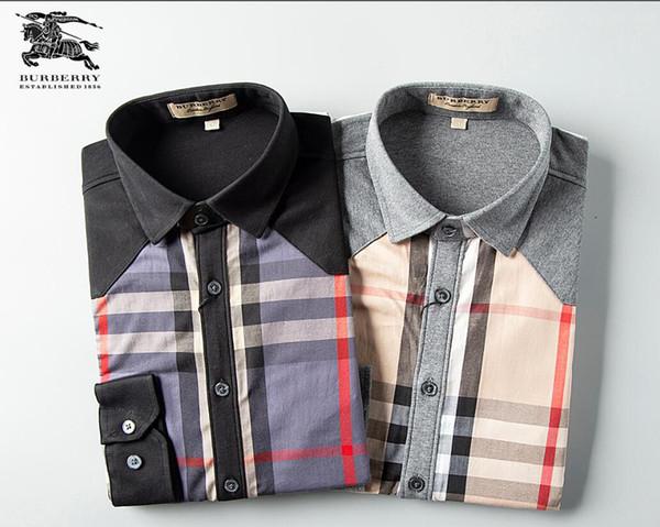 hhx13420111772 / Moda Masculina Camisas Mangas Compridas Cor Sólida Camisa Casual 2019 Inverno Nova blusa de gola mandarim Magro OverShirt do Adolescente 520