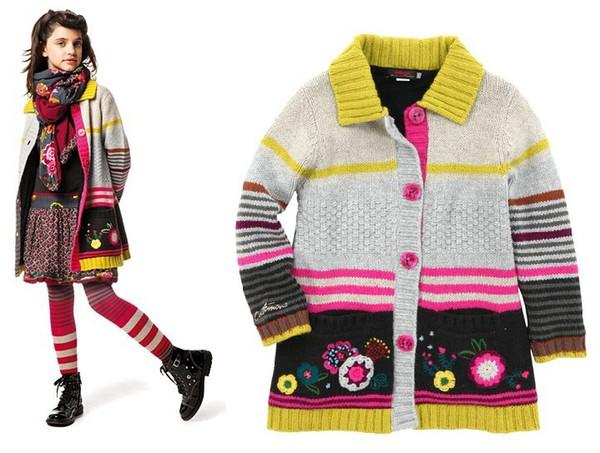 2 -8 años Marca Bebé Niñas suéteres Flor de la raya bordada Manga larga Abrigo niños Invierno franela engrosada Suéter Ropa para niños